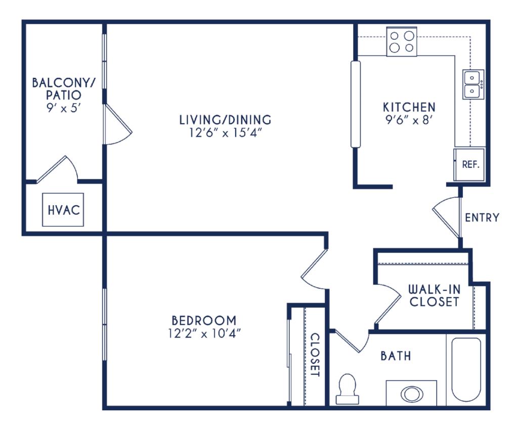 Elmhaven Manor 1 bedroom 1 bath floor plan