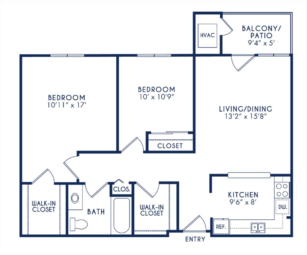 Elmhaven Manor 2 bedroom 1 bathroom floor plan