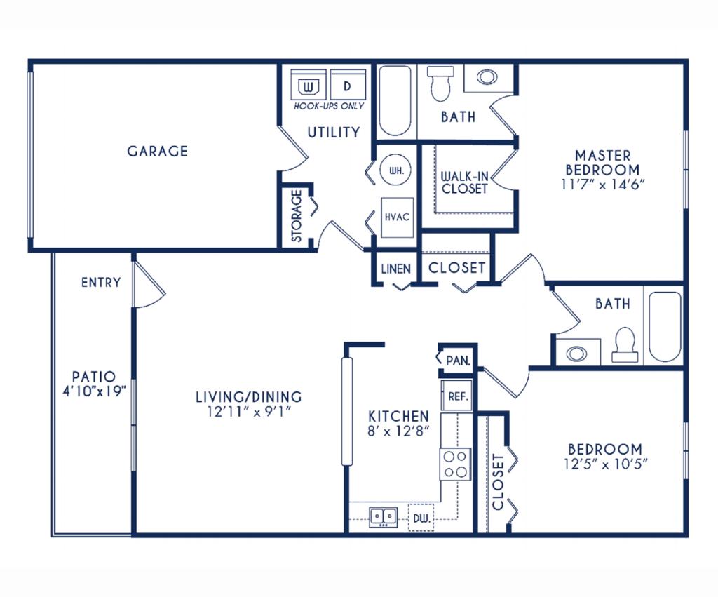 2 bedroom 2 bathrooms floor plan