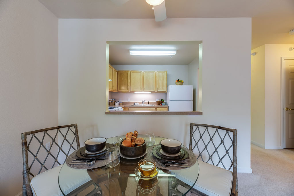 Dining area and kitchen at Elmhaven Manor