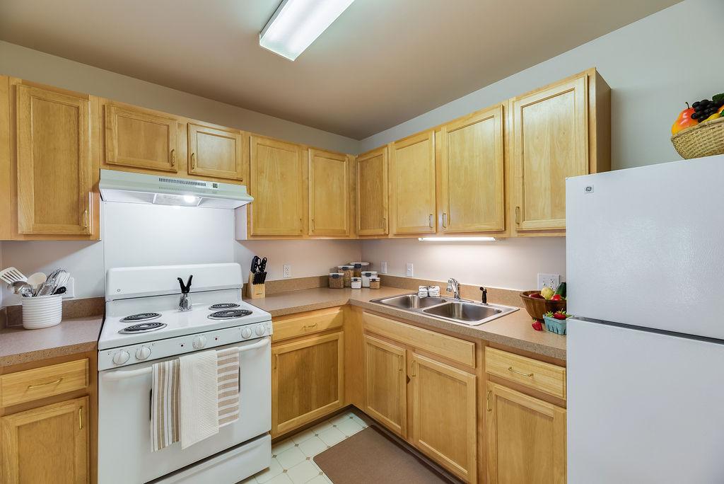 Kitchen interior at Elmhaven Manor apartment