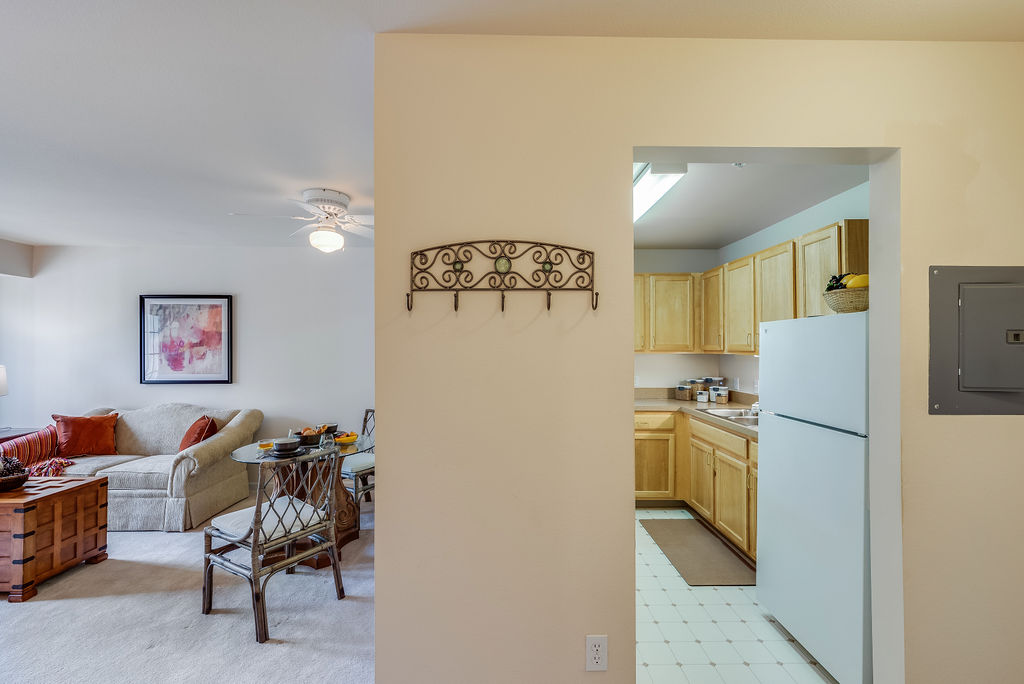 Kitchen and Living room interior at Elmhaven Manor
